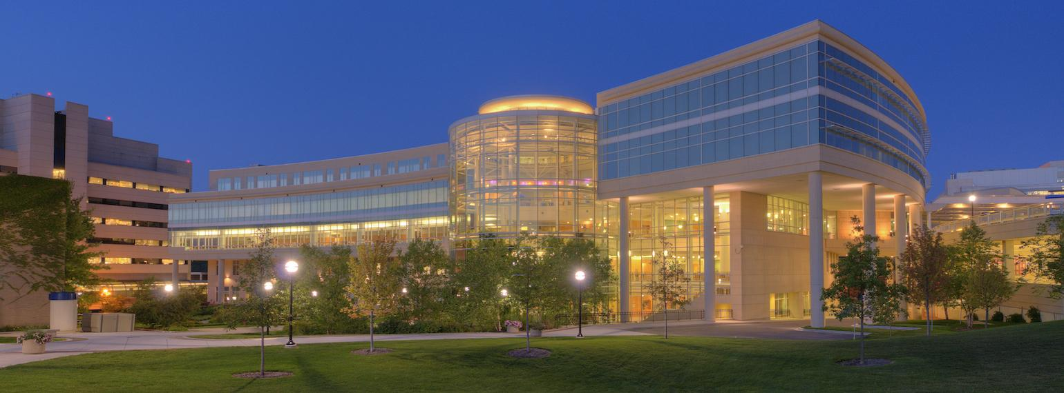 Michigan Medicine Cardiovascular Center at dusk
