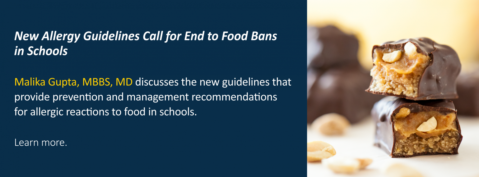 New Allergy Guidelines Call for End to Food Bans in Schools