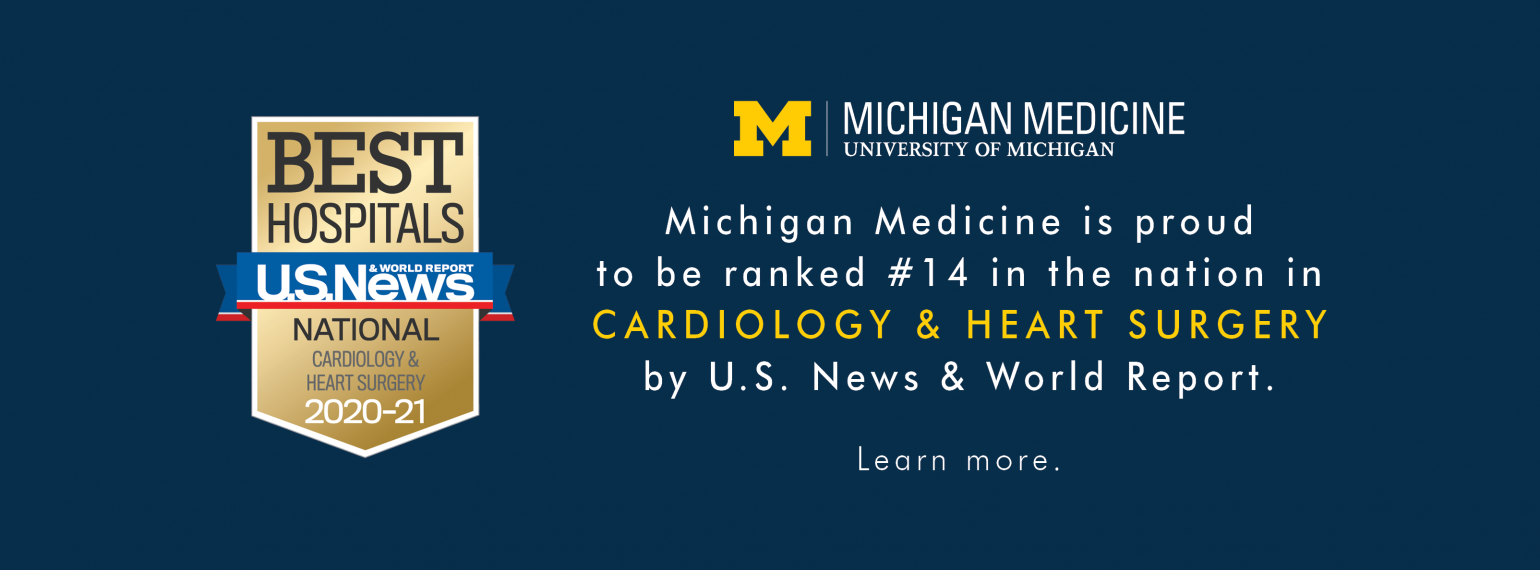 Michigan Medicine Cardiology & Heart Surgery Ranked #14 in the Nation