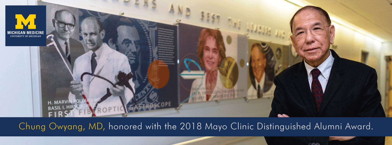 Chung Owyang, MD, honored with the Mayo Clinic Distinguished Alumni Award