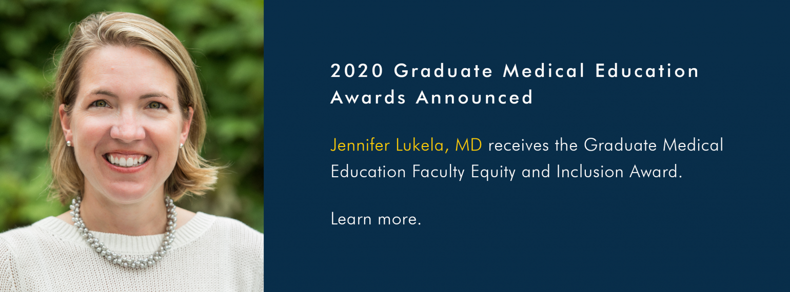 Dr. Jennifer Lukela receives the GME Faculty Equity and Inclusion Award