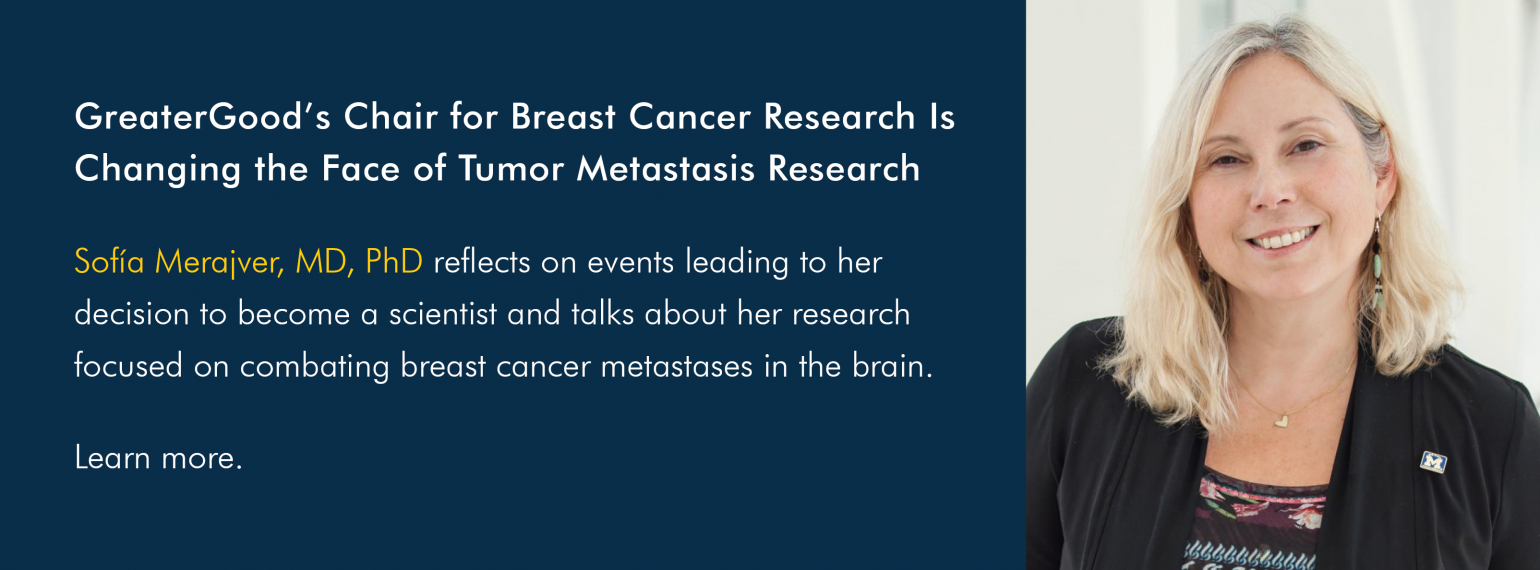 GreaterGood's Chair for Breast Cancer Research Is Changing the Face of Tumor Metastasis Research