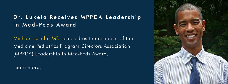 Dr. Lukela Receives MPPDA Leadership in Med-Peds Award