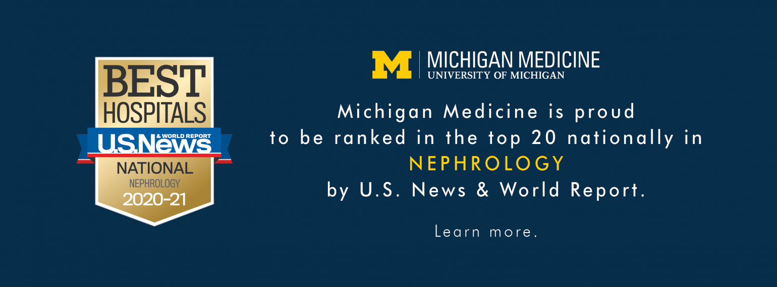 Michigan Medicine Nephrology Ranked in the Top 20 in the Nation
