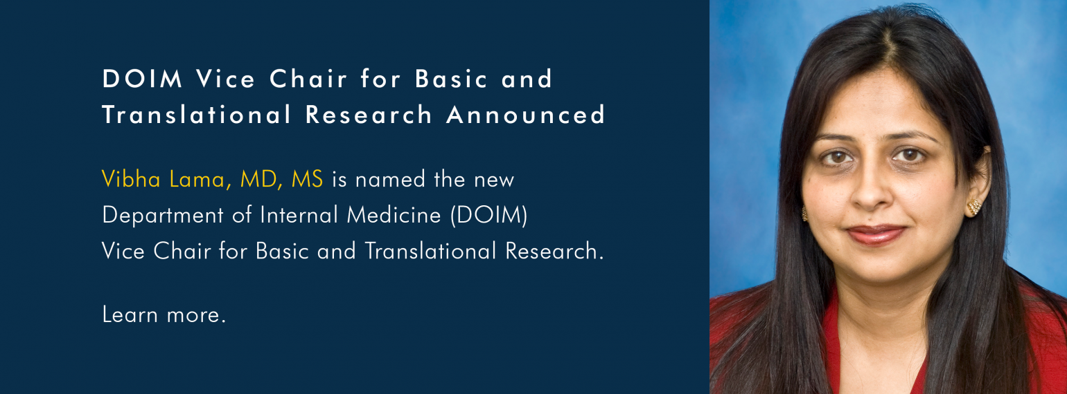 Vibha Lama, MD, MS is named the new DOIM Vice Chair for Basic and Translational Research