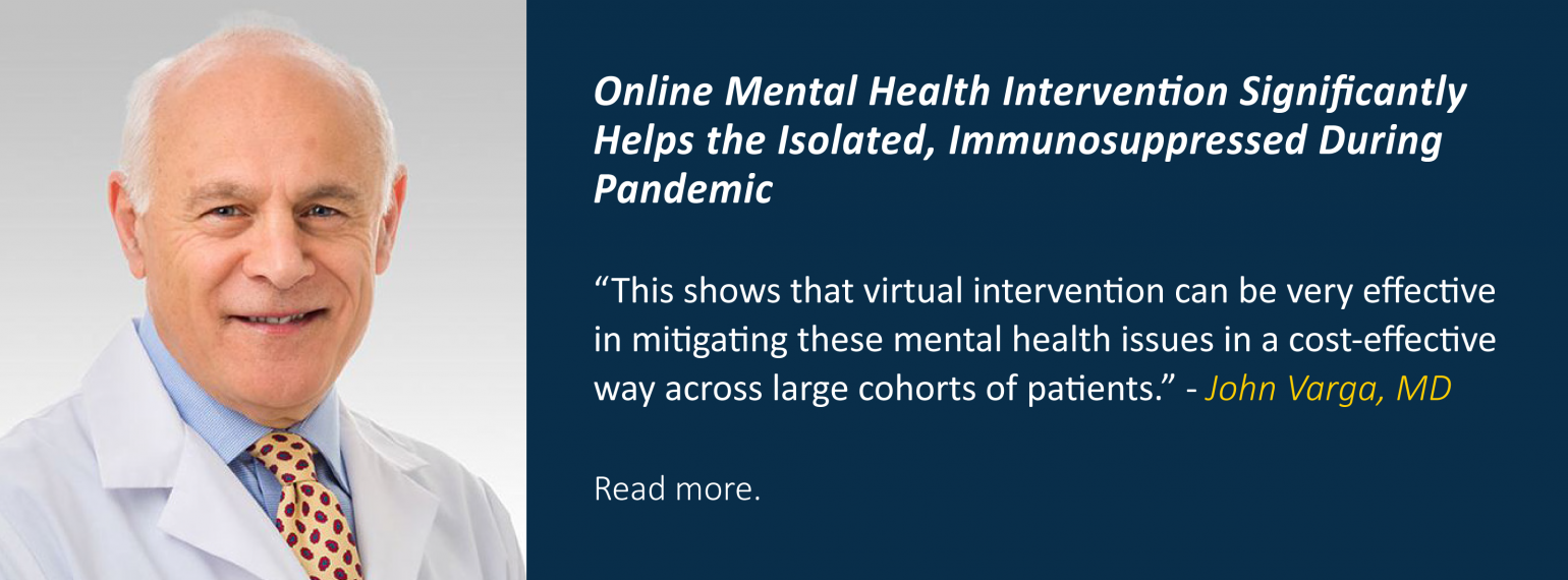 Online Mental Health Intervention Significantly Helps the Isolated, Immunosuppressed During Pandemic