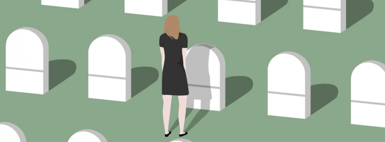 pic of woman visiting grave