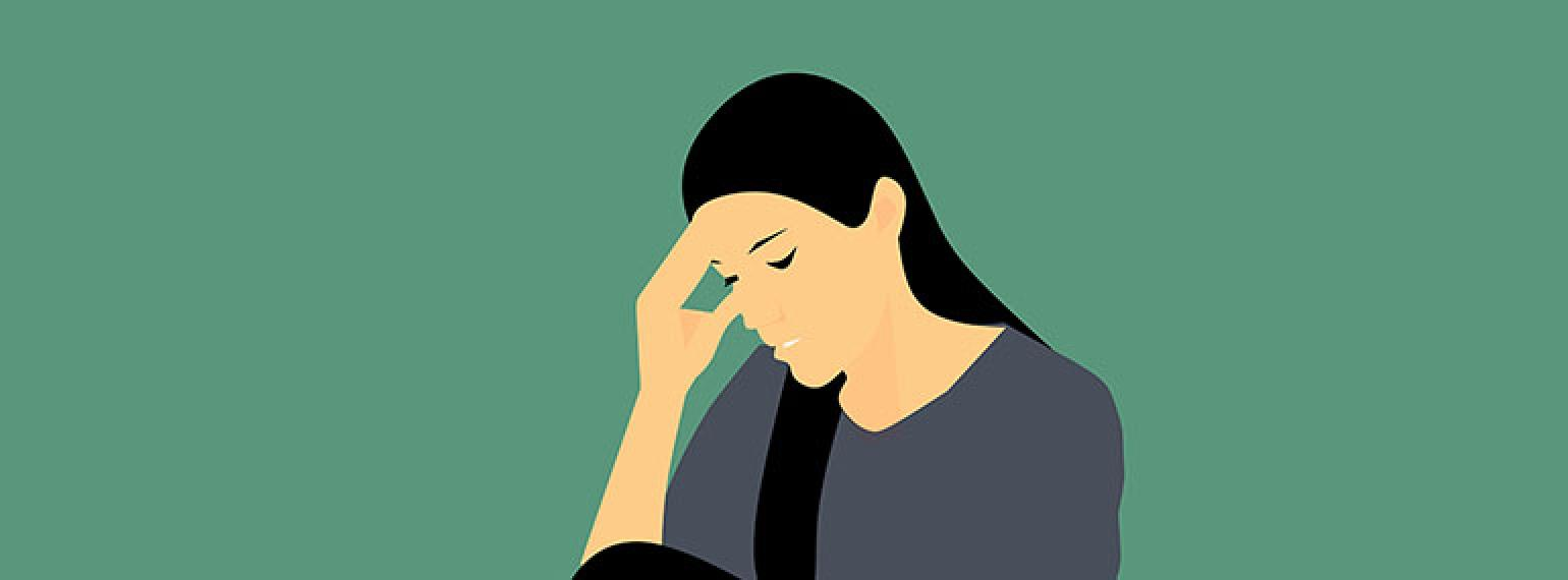 Illustration of a dark haired woman resting her hand on her head. She looks sad and/or frustrated.