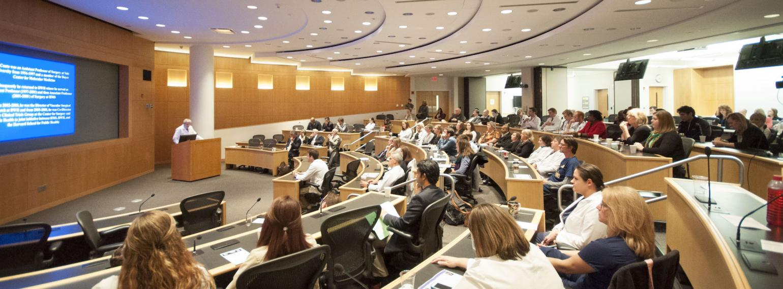 Audience listening to a presentation in Danto Auditorium at the Frankel Cardiovascular Center