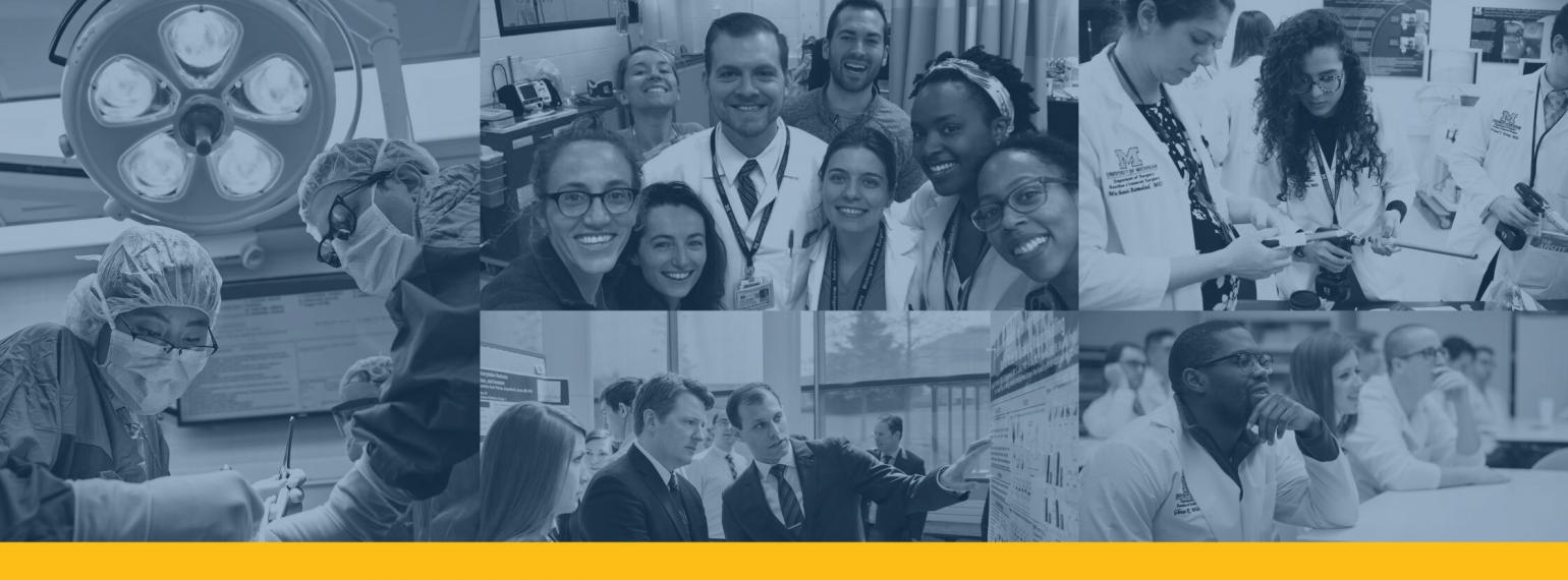 Scenes of general surgery residents and faculty at Michigan Medicine