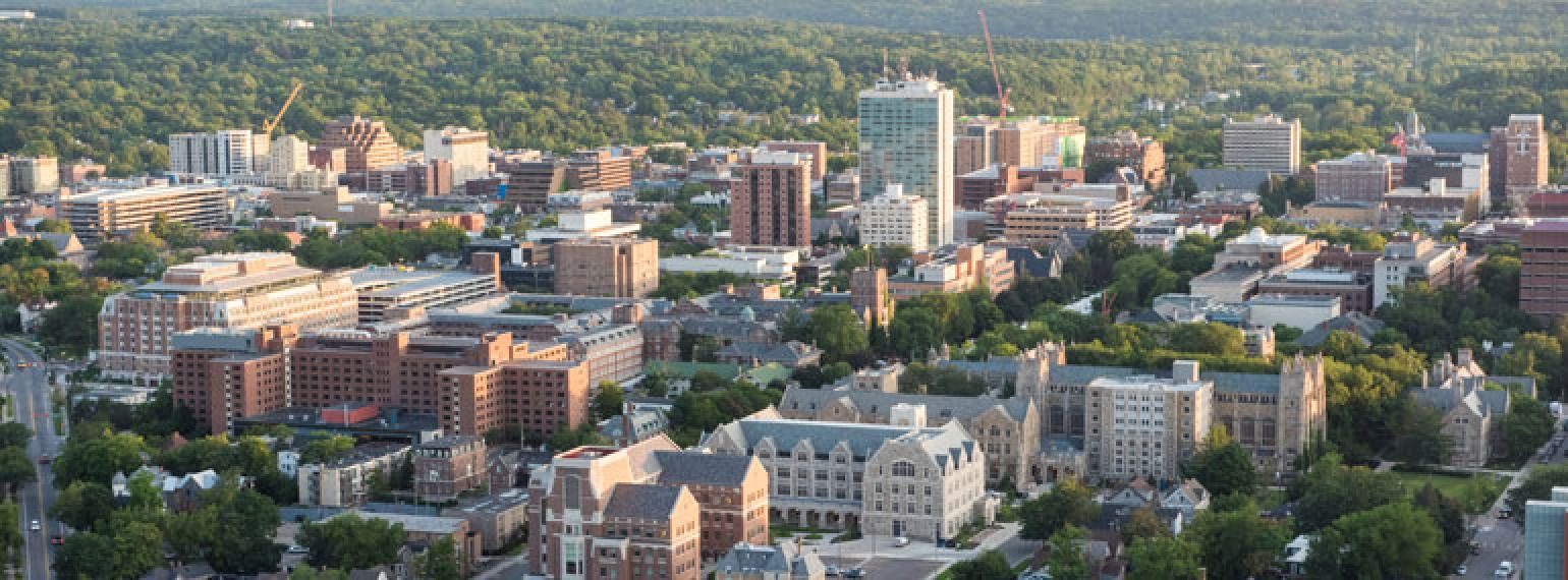 Aerial image of downtown Ann Arbor