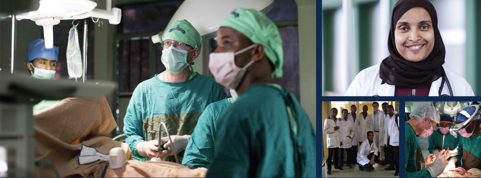 Collage of images from the Department of Surgery and St. Paul's Hospital Millennium Medical College collaboration