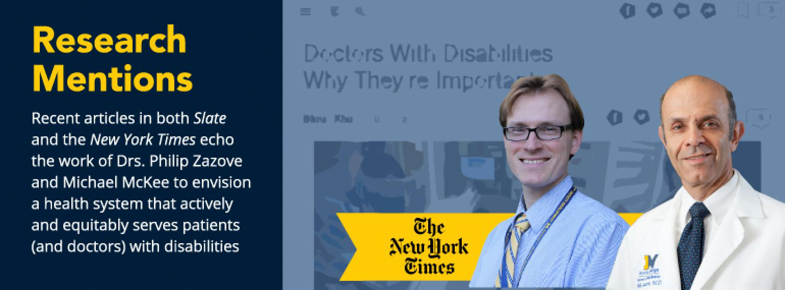 image of drs. michael mckee and philip zazove with text Recent articles in both Slate and the New York Times echo the work of Drs. Philip Zazove and Michael McKee to envision a health system that actively and equitably serves patients (and doctors) with d