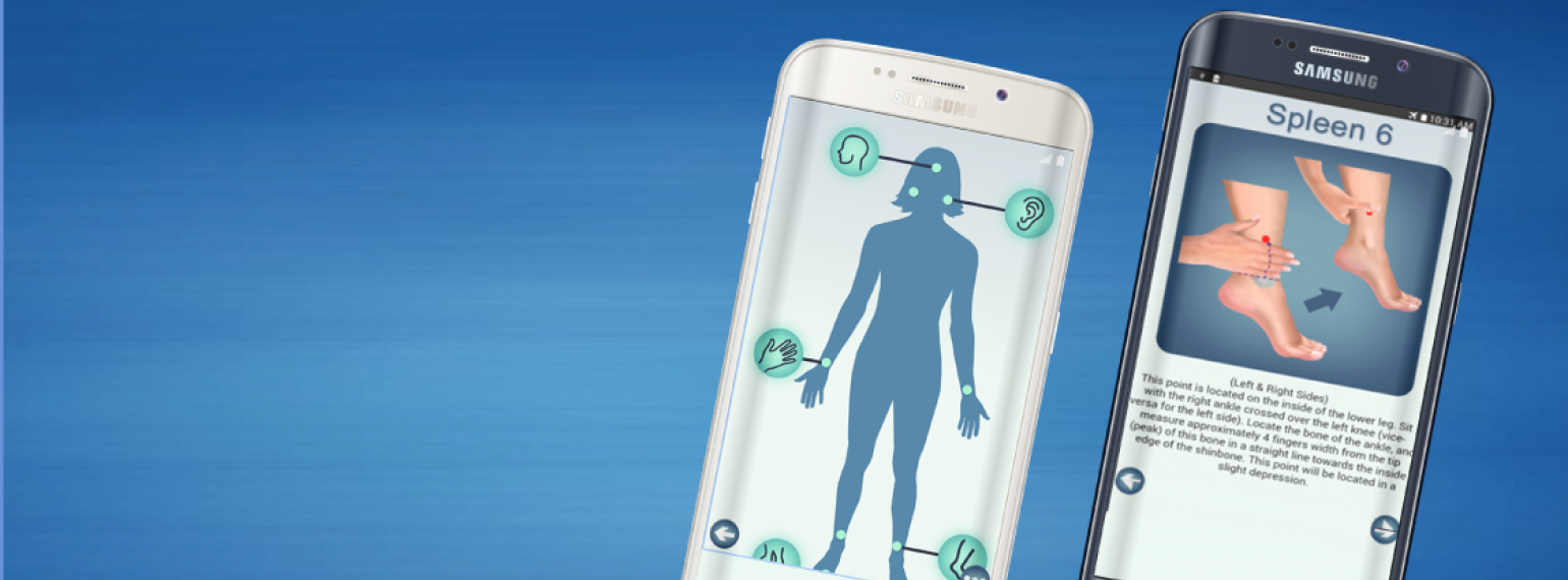 MeTime acupressure app on a phone screen, showing pressure points on the body