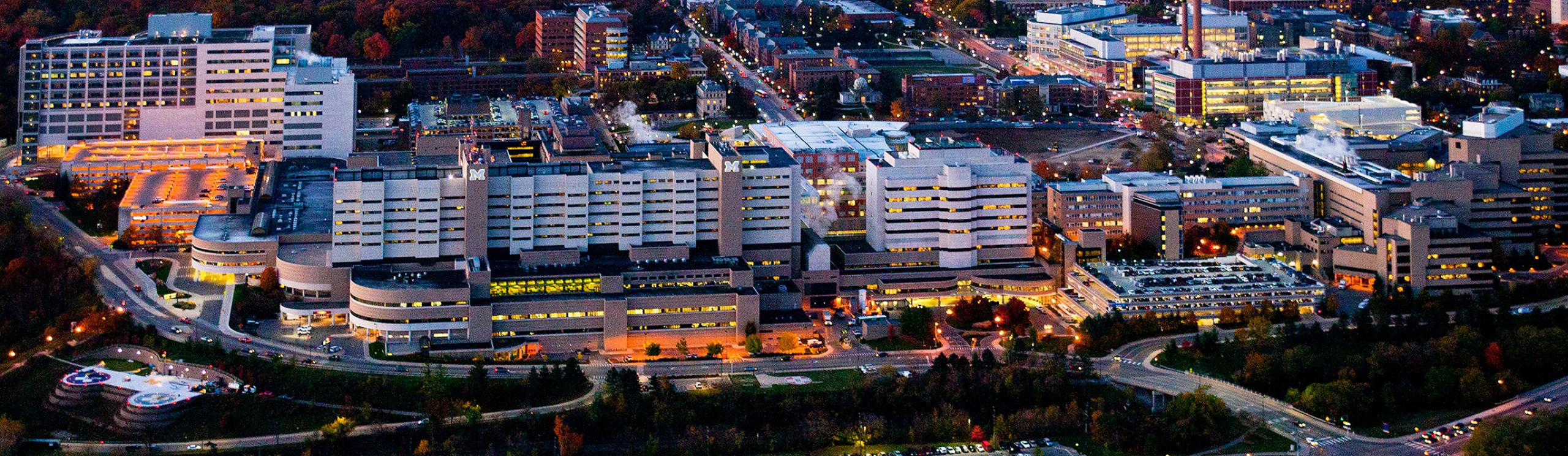 UM Hospital aerial shot at night