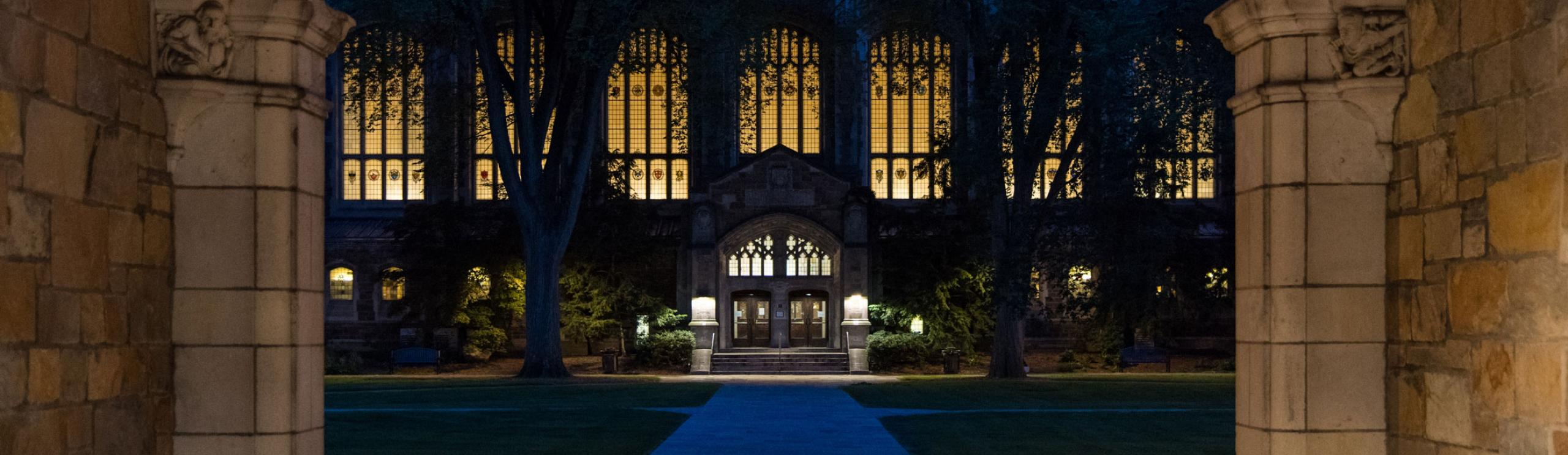 View of Law Quad at night