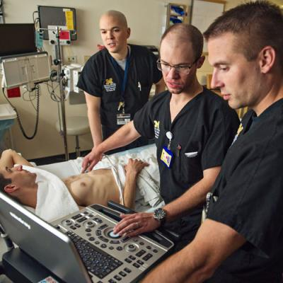 Emergency Medicine residents perform chest ultrasound