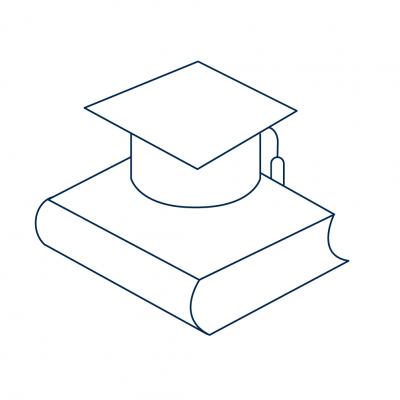 Graduation cap on a book