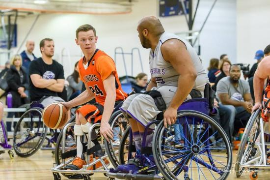Spencer Heslop playing wheelchair basketball