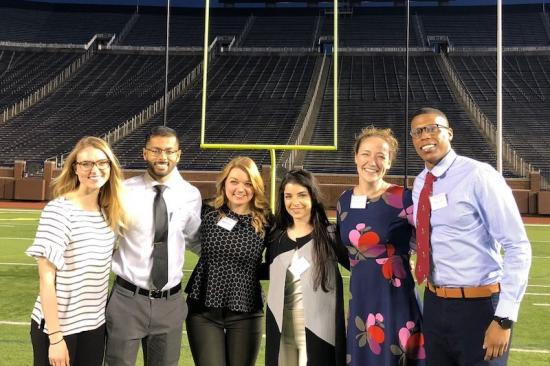 Student Surgery Leadership Weekend participants at the University of Michigan football stadium endzone