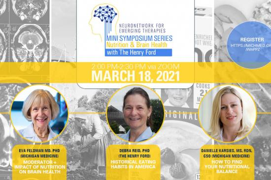 Graphic for Nutrition & Brain Health NeuroNetwork for Emerging Therapies Mini Symposium Series Video