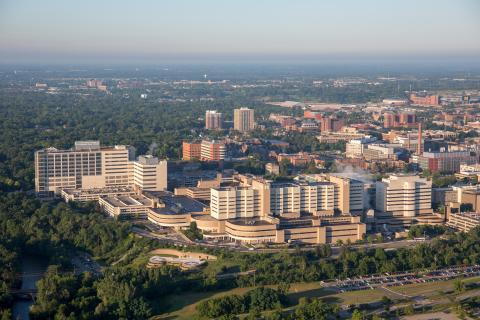 Aerial view of Michigan Medicine medical campus