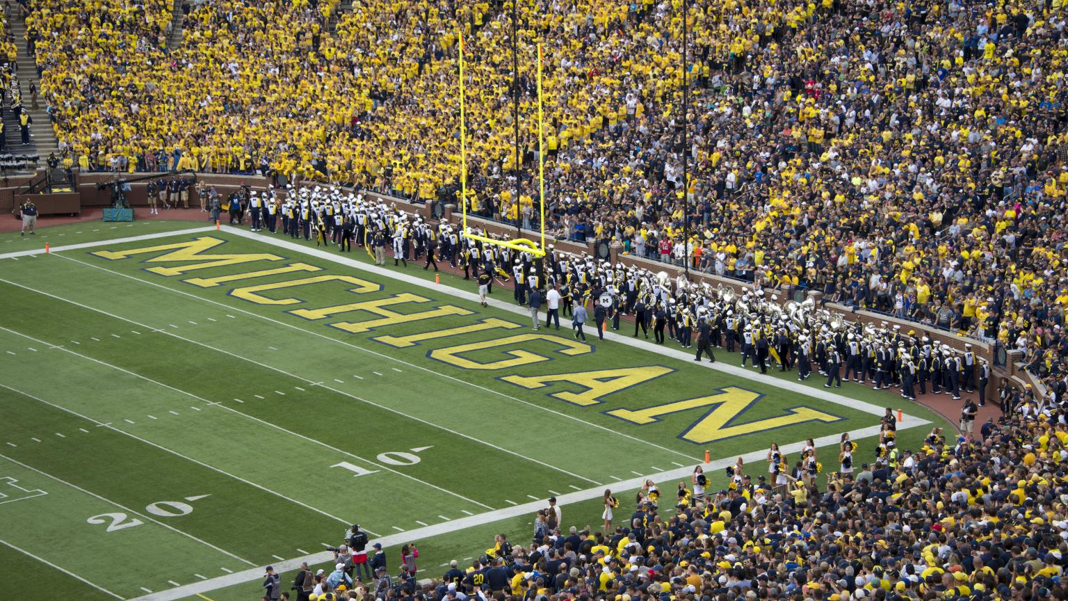 Michigan football stadium end zone during a football game