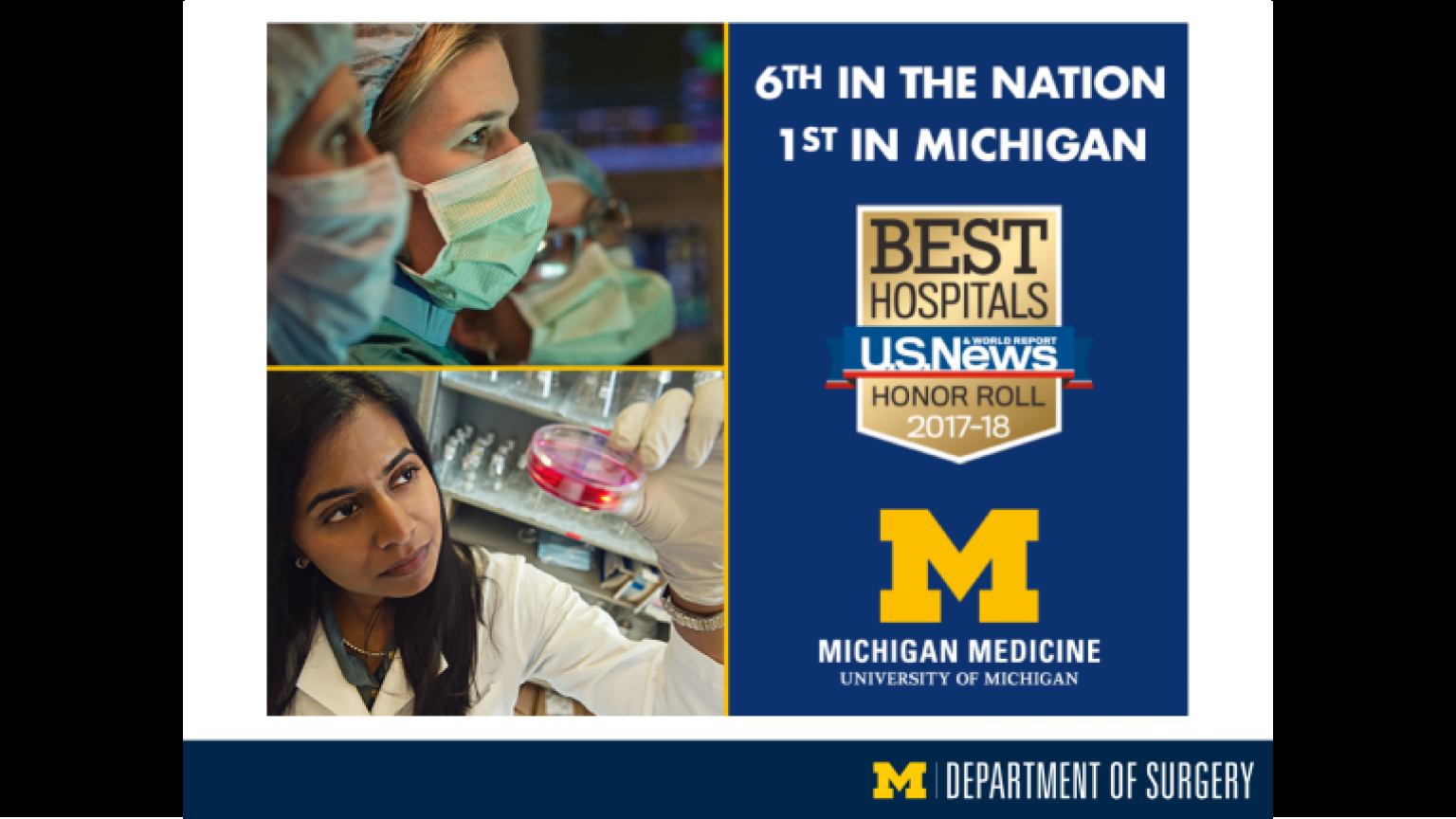 """U.S. News & World Report Best Hospitals Honor Roll 2017-2018 states Michigan Medicine is 6th in the nation and 1st in Michigan - third slide of """"This Is What We Stand For"""" presentation"""