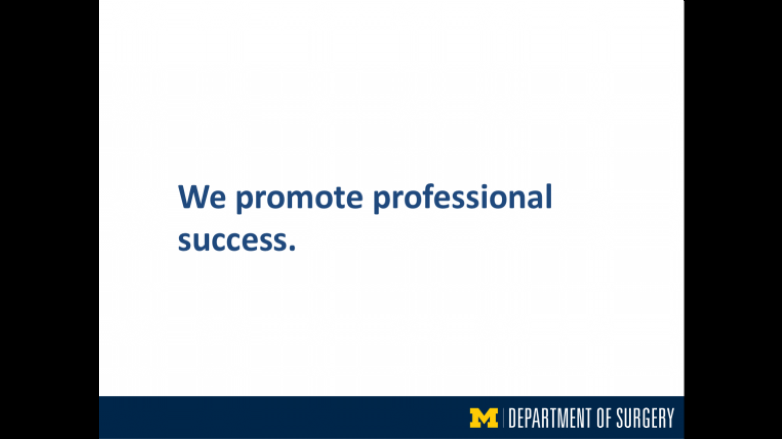 """""""We promote professional success"""" - eighth slide of """"This Is What We Stand For"""" presentation"""