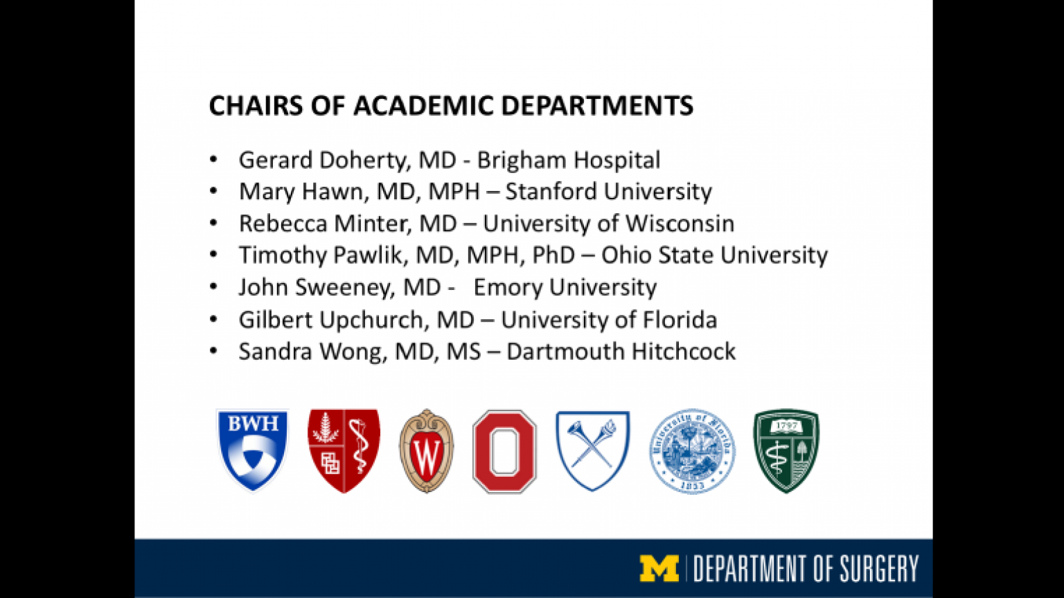 """Chairs of Academic Departments Nationally - ninth slide of """"This Is What We Stand For"""" presentation"""