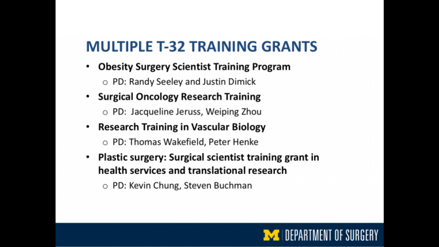 """Multiple T-32 Training Grants - twelfth slide of """"This Is What We Stand For"""" presentation"""