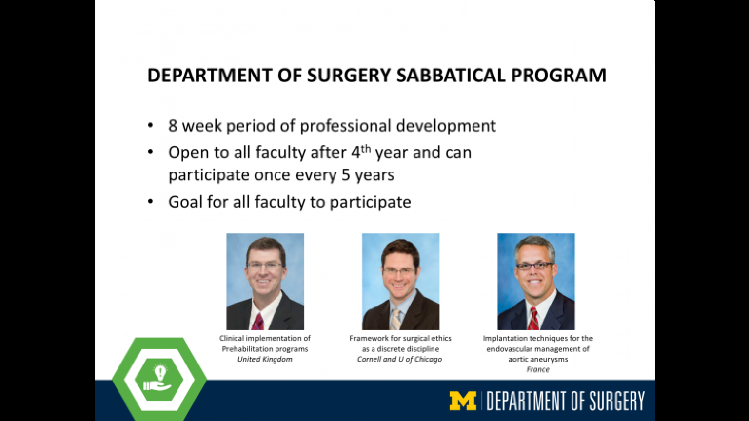 """Department of Surgery Sabbatical Program - thirty-second slide of """"This Is What We Stand For"""" presentation"""