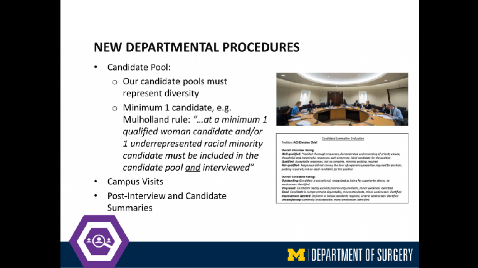"""New Departmental Procedures - thirty-sixth slide of """"This Is What We Stand For"""" presentation"""