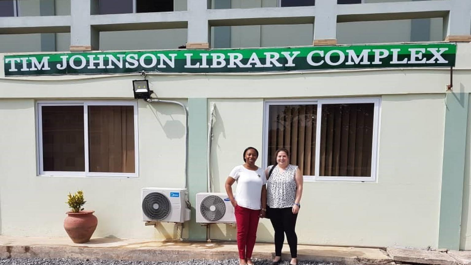 Dr. Lawrence at Tim Johnson Library Complex in Ghana.JPG