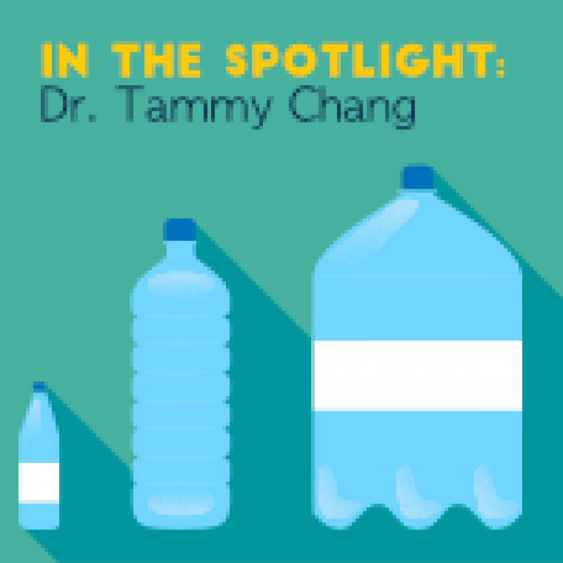 """image of water bottles with text """"In the spotlight: Dr. Tammy Chang"""""""