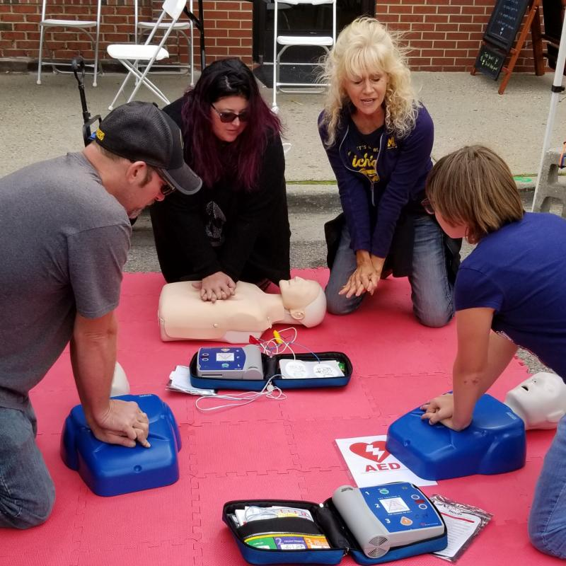Debra Yake RN demonstrates Hands Free CPR