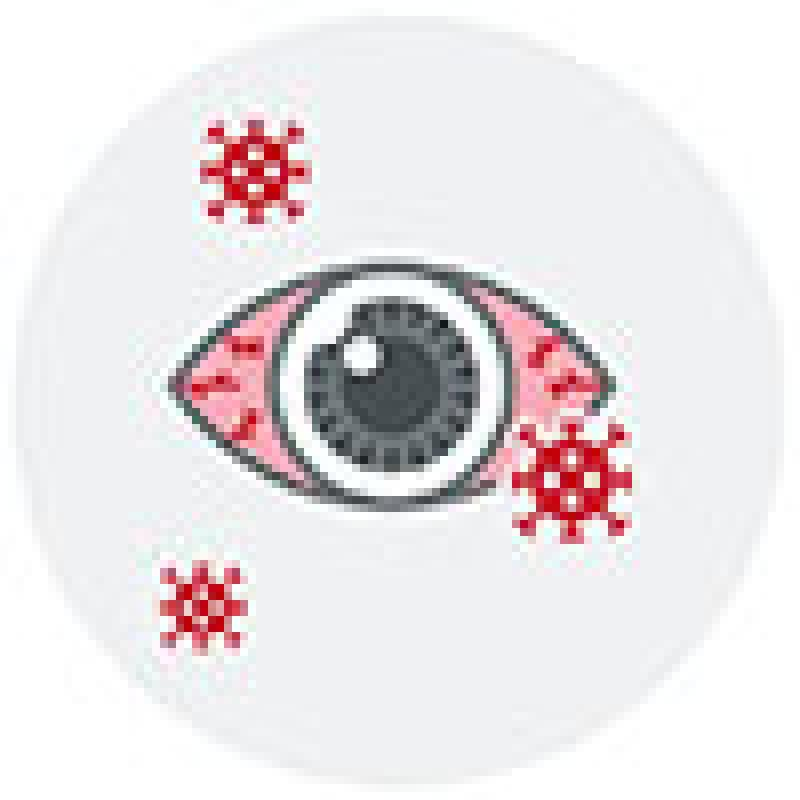 Graphic of a bloodshot eye with covid floating around it