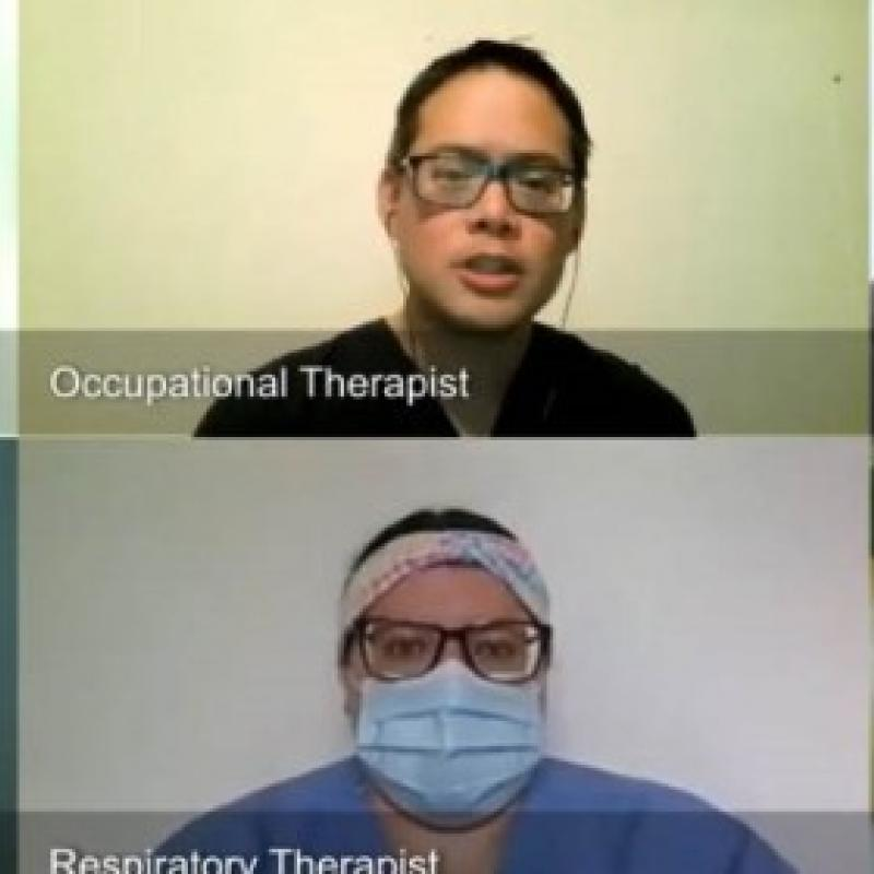 Screen capture from a video appointment including speech language pathologist, occupational therapist, patient, family member, physical therapist, respiratory therapist, and social worker.