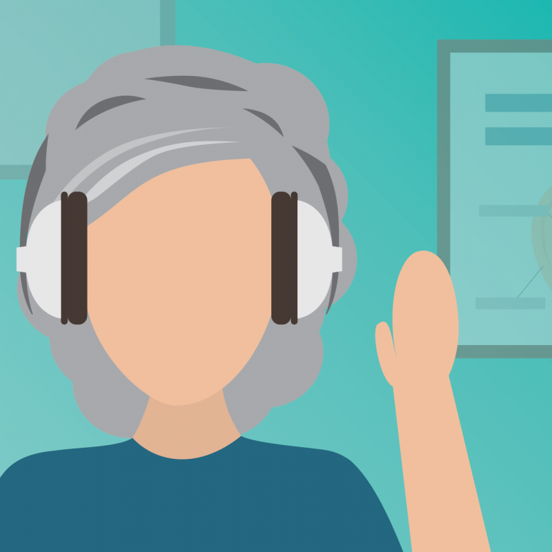 illustration of person with medium length grey hair wearing headphones, in a clinical audiology setting