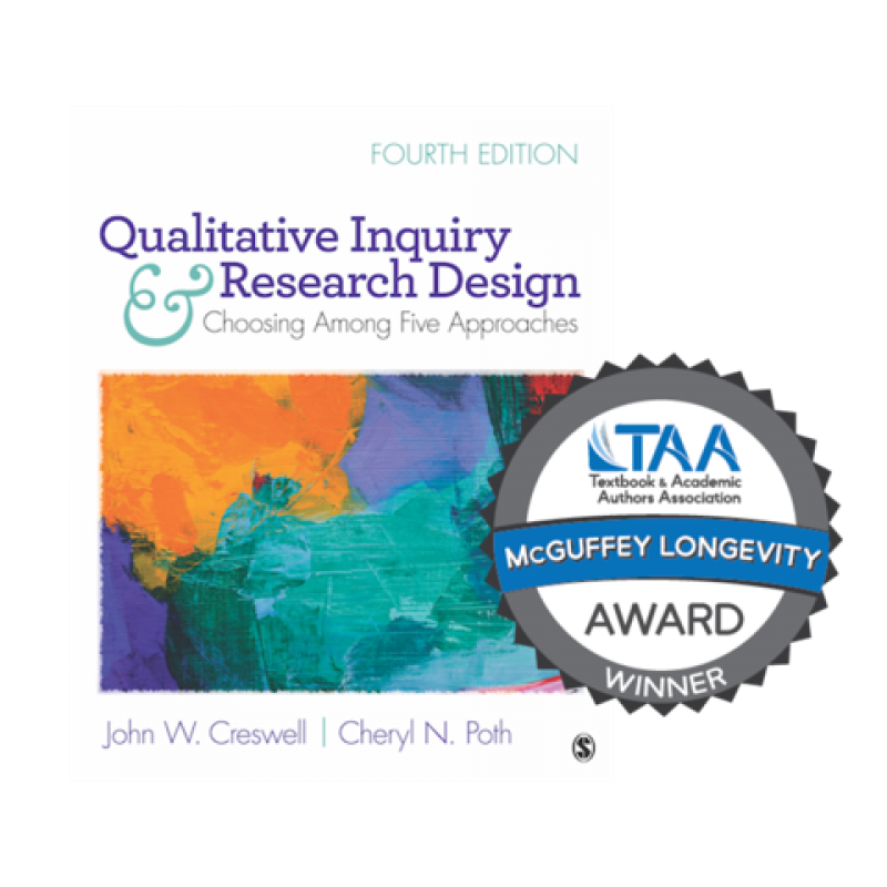 Qualitative inquiry and research design fourth edition textbook with TAA seal reading McGuffey Longevity Award Winner