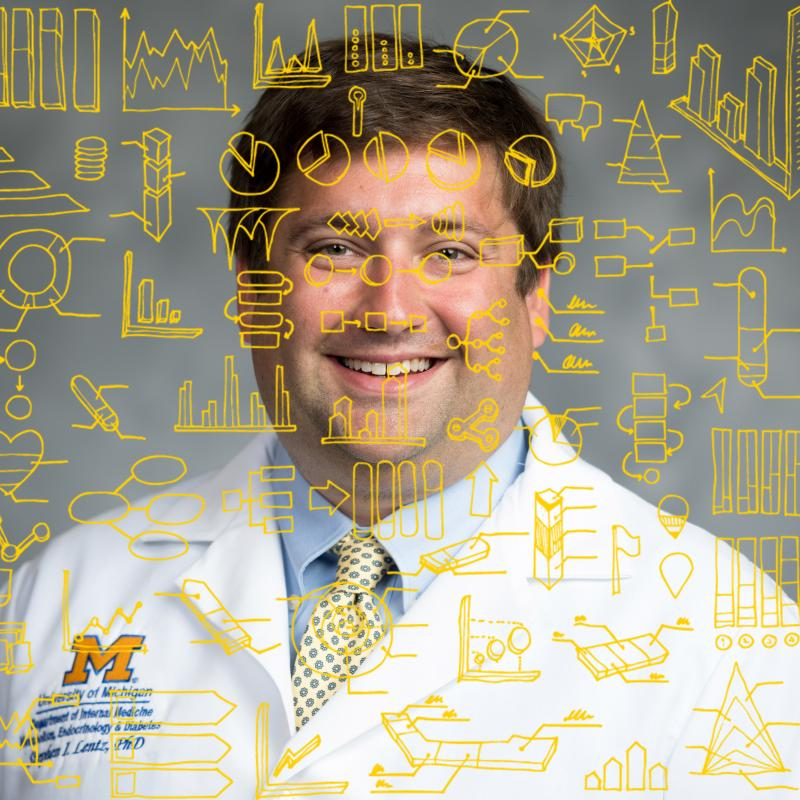 a graphic of Dr. Evan Reynolds of the NeuroNetwork for Emerging Therapies and biostatistics drawings