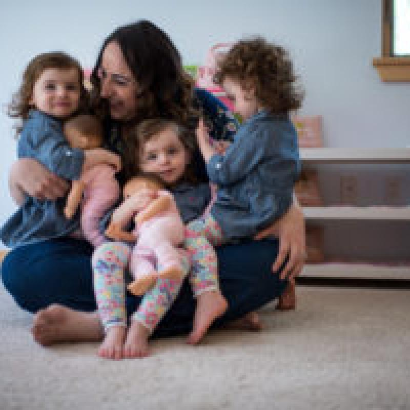 Mom with three young daughters at home