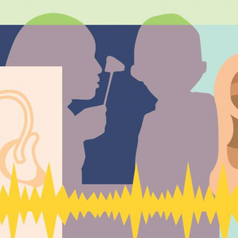 drawing of an ear with audio waves and silouette of doctor examining a patient's ear