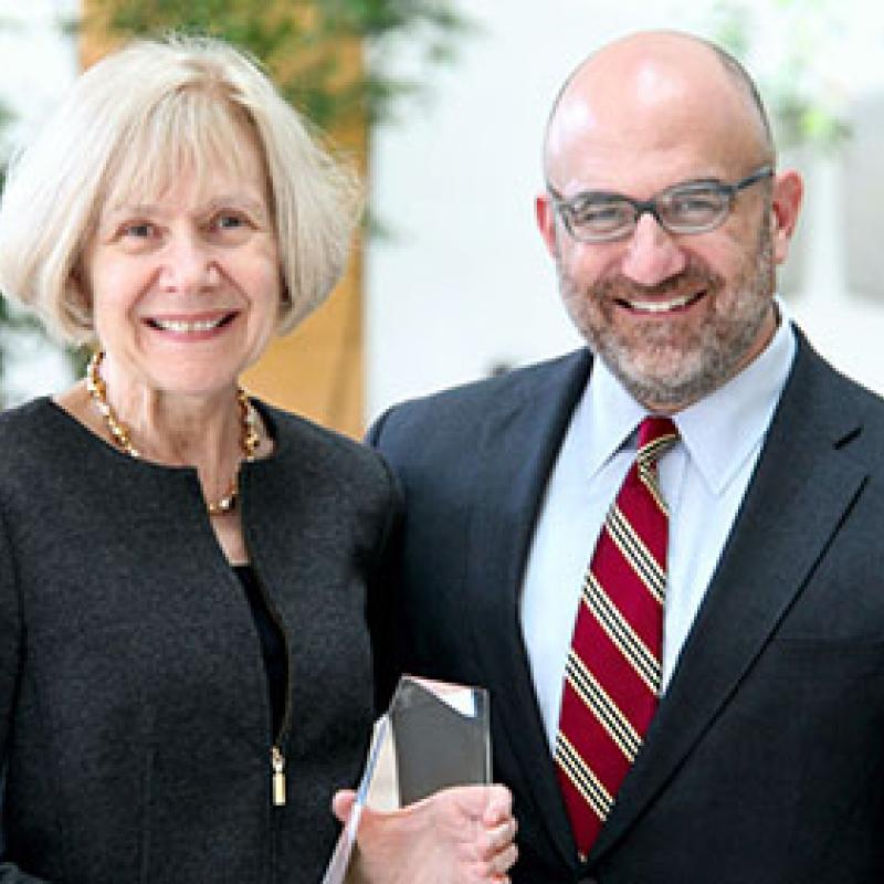Dr. Eva Feldman Receiving 2019 MICHR Award from Dr. George Mashour