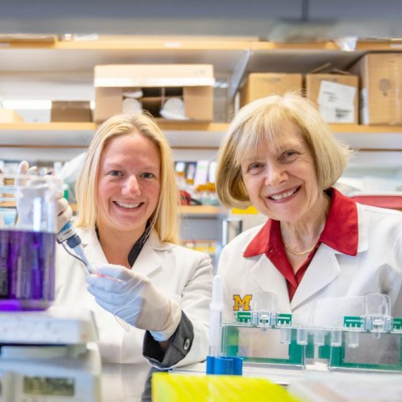 Amy Rumora, Ph.D., in the lab with Eva Feldman, M.D., Ph.D.