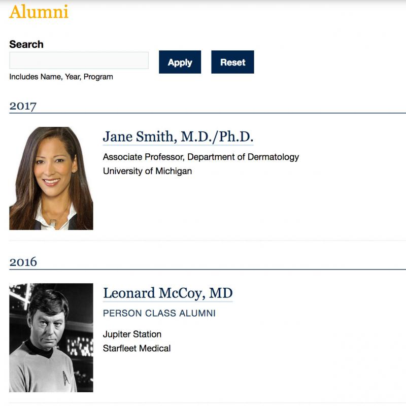 sample news alumni