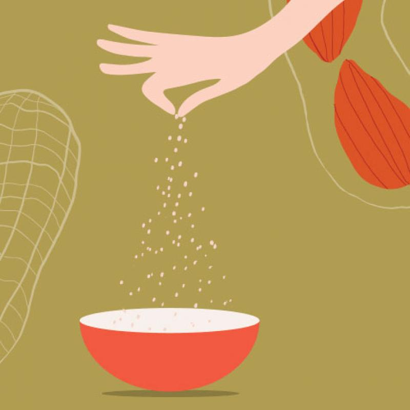 Illustration of a hand sprinkling peanut dust as part of a clinical trial for food allergy