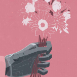 Graphic of a prosthetic arm holding flowers