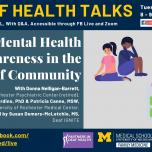 Deaf Health Talks, provided in ASL, with Q&A. Happening Tuesday, May 25, 8 to 9PM EST, on Facebook Live and Zoom. Mental health awareness in the deaf community. Donna Nelligan-Barrett, Donna Guardino, Patricia Canne, Susan Demers-McLetchie