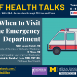 Deaf Health Talks, provided in ASL, with Q&A. Happening Tuesday, March 23, 8 to 9PM EST, on Facebook Live and Zoom. When to Visit the Emergency Department, with Jason Rotoli, MD University of Rochester School of Medicine, IV MIrus, MD Strong Memorial Hosp